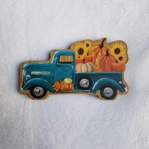 New! Fall Harvest Blue Pumpkin Truck Wooden Decor